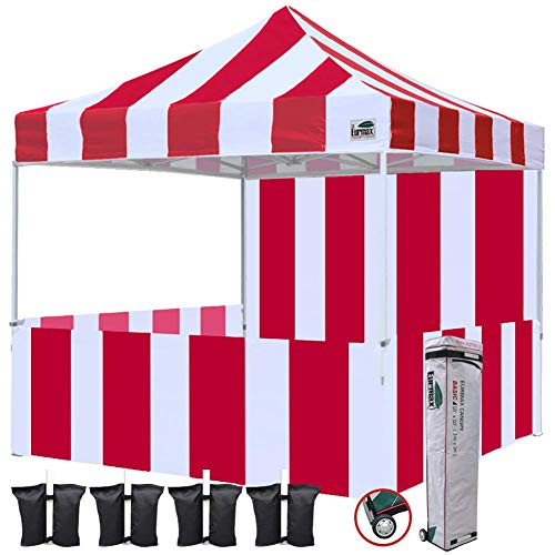 - Eurmax 10'x10' Ez Pop-up Booth Canopy Tent Commercial Instant Tent with 1 Full Sidewall & 3 Half Walls and Roller Bag, Bonus 4 SandBags&3 Cross-Bar(Stripe Red/White)