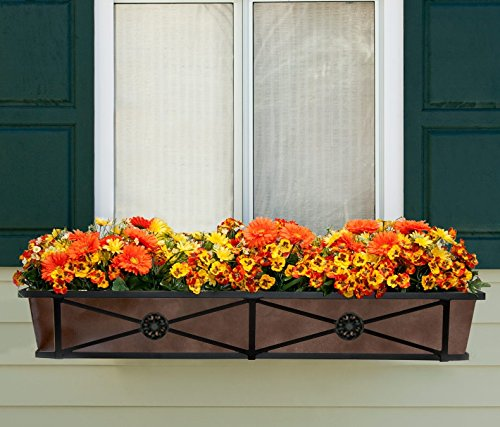 48in. The Medallion Tapered Iron Window Box with Oil-Rubbed Bronze Metal Liner