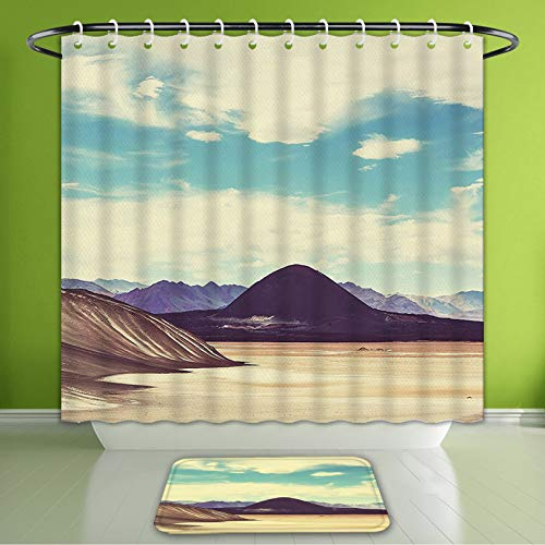 (Waterproof Shower Curtain and Bath Rug Set Americana Landscape Decor Northern Brazilian Plateau Wanderlust Serene in Abandoned Rocks Paint Bath Curtain and Doormat Suit for Bathroom 72