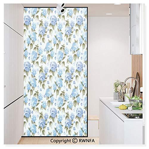 Window Film No Glue Glass Sticker Hydrangea Flowers Over Light Background Wedding Bridal Artistic Design Static Cling Privacy Decor for Kitchen Bathroom 17.7x59.8inches,