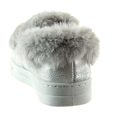 Angkorly - damen Schuhe Sneaker - sneaker Sohle - Pelz - Schmuck flache Ferse 2.5 CM Grau