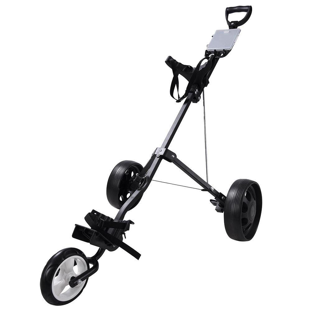 GraceShop カートプルゴルフプッシュ 3輪トロリーバッグ 折りたたみ式 男の子用 回転クラブホイールホルダー ブラック 軽量 Clicgear ヴィンテージ   B07KG5Y63W