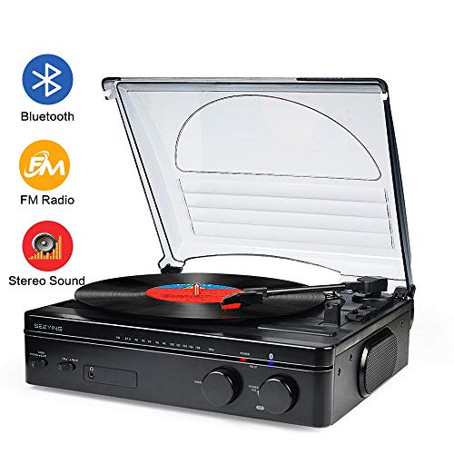 Record Player Bluetooth Turntable with Stereo Speakers Portable Belt-Driven Nostalgic
