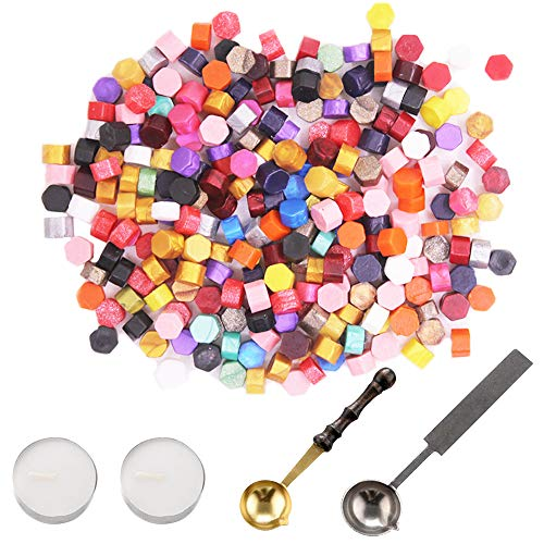 230 Pieces Sealing Wax Beads, YuCool Octagon Wax Seal Beads Kit with 2 Sealing Wax Spoon and 2 Candles for Wax Seal Stamp-23 Colors