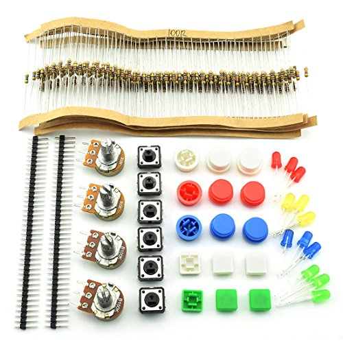 HJ Garden Electronic Component Assorted Kit Resistor + Rotating Potentiometer + LED + Touch Switch + 40 Pin Header Strip for Arduino, Raspberry Pi, STM32 etc. Projects (E0 Pack of 249pcs)