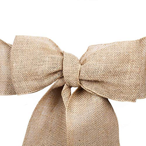 "Linenlanding 6""X108"" Pack of 5/10/60 Natural Jute Burlap Chair Bow Sashes for Wedding Event Party Ceremony Reception Decoration Supplies Wholesale (60)"