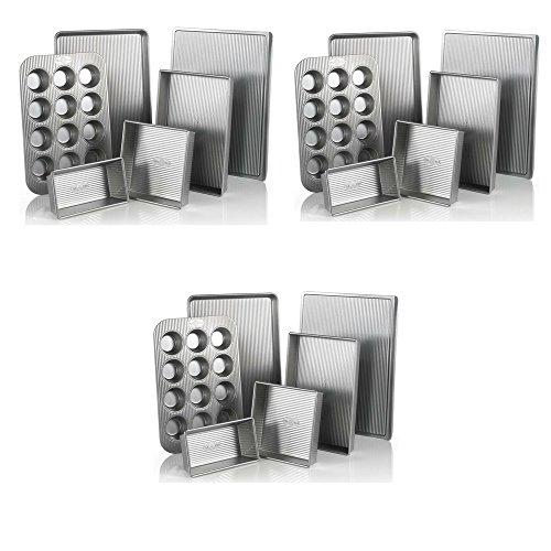 USA Pan Bakeware Aluminized Steel 6 Pieces Set, Cookie Sheet, Half Sheet, Loaf Pan, Rectangular Pan, Square Cake Pan, 12 Cup Muffin Pan (3 Pack - 6 Piece Set)