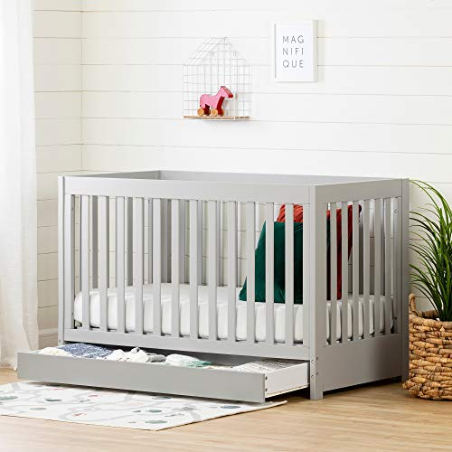 (South Shore 12310 Cookie Crib with Drawer-Soft Gray)