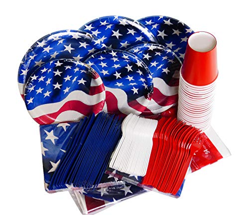 Patriotic Party Supplies Disposable Dinnerware Set Flag with Patriotic Decoration- Serves 24- Includes Paper Plates, Cups, Napkins -Plastic Forks, Spoons, Knives, Tablecloth 177 Piece Bundle
