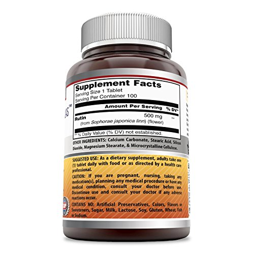Amazing Formulas Rutin 500mg, 100 Tablets Antioxidant Properties Helps Absorption of Vitamin C Supports Vascular Health*