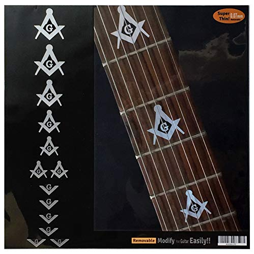 (Blink 182 Tom Delonge/Masonic Square & Compass Fret Markers Inlay Stickers for Guitar & Bass (Metallic))