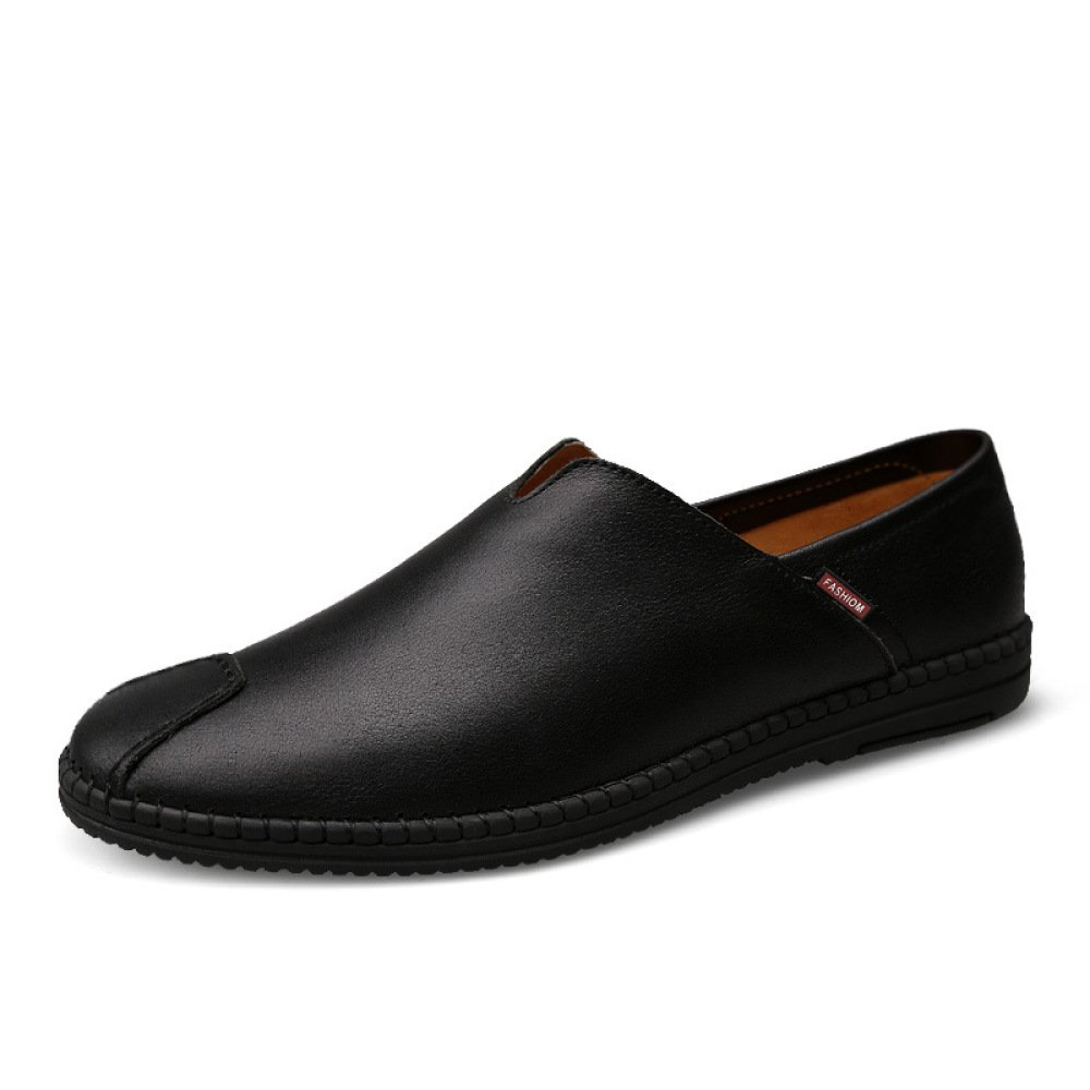Herbst Erbsenschuhe Leder Freizeitschuhe Männer Geschäft Faule Schuhe schwarz