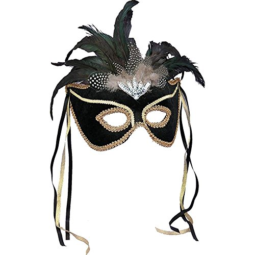 Forum Deluxe Half Mask With Feathers, Black, One (Black Velvet Feather Mask)