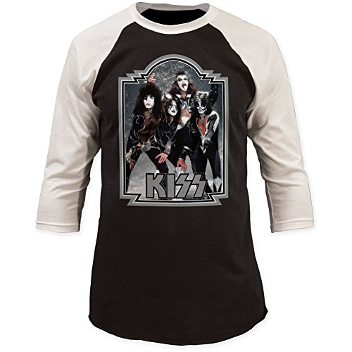Kiss Glitter 1976 '76 Baseball Jersey 3/4 Sleeve Print Men's Slim Cotton Shirt X-Large Black