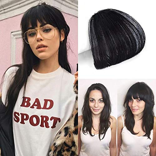 HIKYUU Jet Black One Piece Clip in Black Hair Bangs Hair Extensions #1 Real Remy Clip in Unprocessed Virgin Human Hair Bangs without Temples (Bangs For High Forehead And Thin Hair)