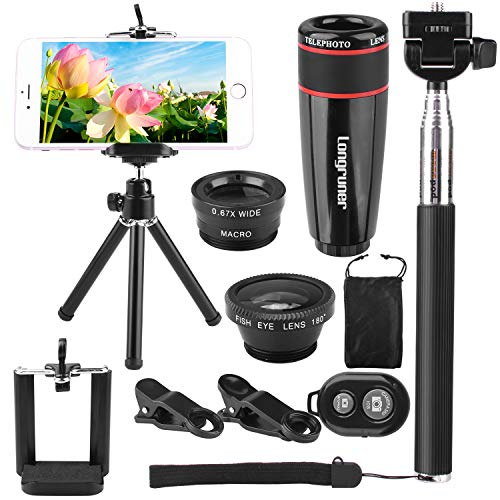 (Longruner 10 in 1 Mini Camera Lens Kit 8 x Telephoto Lens + Fish Eye Lens + Wide Angle + Macro Lens Selfie Stick Monopod + Remote Control + Mini Tripod with a 6 Slots Case (Black))