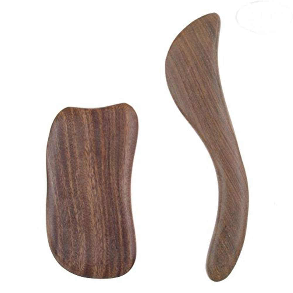 CosCosX 2 Packs Gua Sha Scraping Massage Tools Sandalwood Professional Medical Jade Board Reduce Head Neck and Muscle Pain Physical Therapy Tool SPA Acupuncture Therapy Trigger Point Treatment on Face