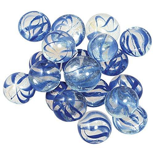 GemStones Decorative Aquarium Stones, Clear with Blue Swirls 30/bag (Aquarium Marbles Fish)