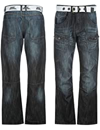 Mens Belted Cargo Jeans Multi Pocket Button Zip Fasten Comfort Casual