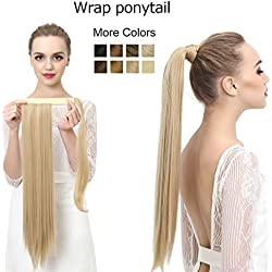 """SARLA 24"""" Straight Long Wrap Around Ponytail Hair Extensions Heat-Resisting Synthetic Ponytail Hairpiecs P001 (16H613 dirty blonde)"""