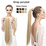 SARLA 24'' Straight Long Clip in Ponytail Hair Extension Wrap Around Heat-Resisting Fiber Synthetic Fake Pony Tail Hairpiecs Hair Piece P001 (#2 off black)