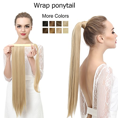 SARLA 24'' Straight Long Clip in Ponytail Hair Extension Wrap Around Heat-Resisting Fiber Synthetic Fake Pony Tail Hairpiecs Hair Piece P001 (#2 off black) by SARLA