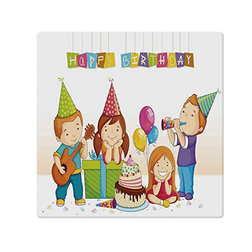 Birthday Decorations for Kids Comfortable Doormat,Colorful Kindergarten Party Cone Hats Cake Boxes Music Print for Home Office,47.2