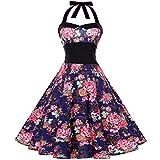 FEDULK Women Dress Strappy Dress Sleeveless Bow Backless Vintage Hollywood Large Swing Midi Dress (Blue, US Size XS = Tag S)