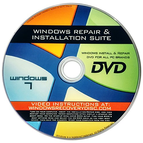 Windows 7 All ANY 32/64-bit Versions Ultimate, Home Premium, New Full Re Install Boot Disc - Repair Restore Recover Disc