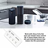 WiFi Smart Power Strip, Amtake Surge Protector Flat Plug with 4 Smart Plugs and 4 USB Charging Ports for Multi Outlet Socket Extension Cord, Compatible with Alexa, Voice Controlled by Amazon Echo Dot