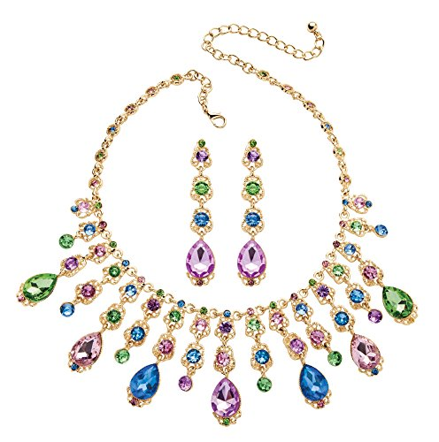 Gold Tone Drop Earrings and Bib Necklace Set, Pear Drop Multi-color Crystals, 18