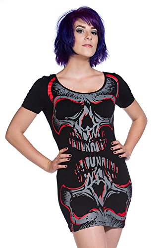 interdits Mesdames gothique T-shirt pour femme Miroir Crâne Rouge en résille toutes les tailles