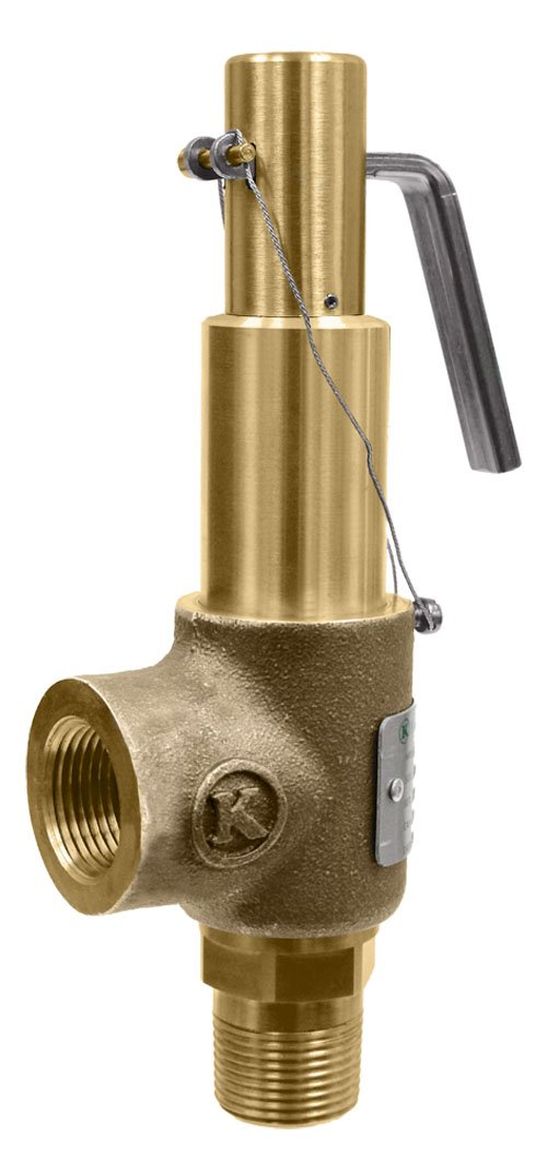 Kingston Valves 710D66N1K1-050 Model 710 Safety Valve, D Orifice, Brass Body and Trim, Buna-N Disc, Open Lever, ASME Section VIII Air/Gas, 1'' Inlet x 1'' Outlet, 50 psi