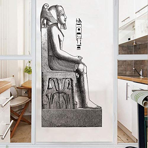 (Decorative Window Film,No Glue Frosted Privacy Film,Stained Glass Door Film,Ancient Antique Era Egypt Pharaoh King Pose with a Bird Hawk Sketch Image,for Home & Office,23.6In. by 35.4In Black and Whit)