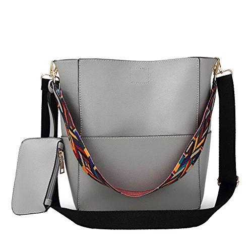 Zebra Print Bucket Bag (Rbsports Designer Bucket bag Women Leather Wide Strap Shoulder bag Handbag Gray)