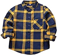 Eledobby Boys' Long Sleeve Plaid Shirt Spring Fall Chic Casual Button Down Long Top Blouse Clothes Cotton