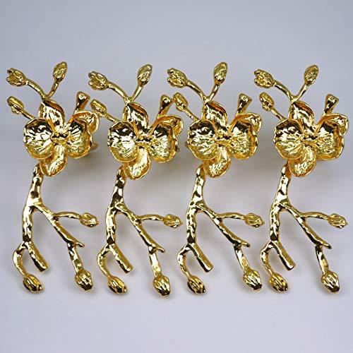 BJ Decor Napkin Rings Set of 4, Gold Flower Napkin Rings Napkin Holders for Wedding Banquet Dinner Decor Favor Tabletop Adornment Holder Table Décoration (Napkin Rings Flower)