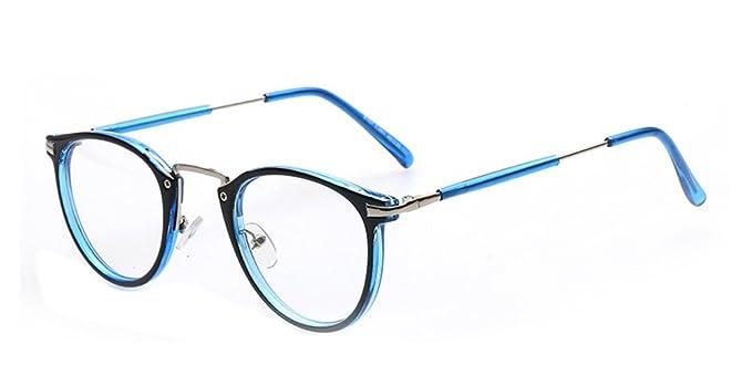 1acc476279 BOZEVON Unisexo Clásico Mujer Hombre Moda Retro Redondo Gafas Geek Nerd Montura  para Gafas, Negro/Azul: Amazon.es: Ropa y accesorios