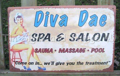 ShopForAllYou Vintage Decor Signs Diva Spa Salon Pinup Girl TIN Sign VTG Retro Wall Decor Massage Parlor Sauna -