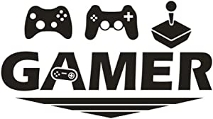AUHOKY Gamer with Gaming Joystick Design Wall Sticker Decal, Removable DIY Vinyl Art Mural Wallpaper Home Decor Gift for Boy Kids Bedroom Playroom – Entertaining & Relaxing (18×12inch, Black)