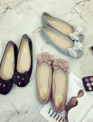 ZQ YYZ Zapatos de mujer - Tac¨®n Plano - Bailarina - Planos - Vestido - Semicuero - Negro / Rosa / Gris , gray-us8.5 / eu39 / uk6.5 / cn40 , gray-us8.5 / eu39 / uk6.5 / cn40 pink-us7.5 / eu38 / uk5.5 / cn38