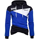 Ninasill Mens Autumn And Winter Print Letter Patchwork Hoodie Hooded Sweatshirt Tops Jacket Coat Outwear (XL, Blue)
