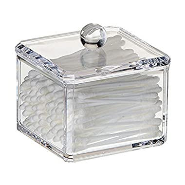 Square Acrylic Cotton Ball Holder, Single Tier