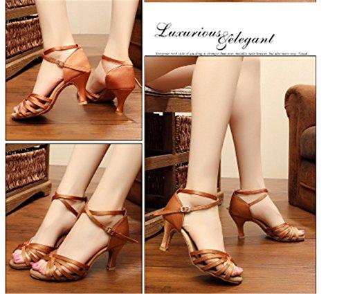 Danza Zapatos Marrón Tacón de Latino de Tango de Salón YOGLY Zapatos Zapatos Baile Salsa 7cm Tacon de Mujer Adulta de B Baile Medio xH0wwgW1Zq