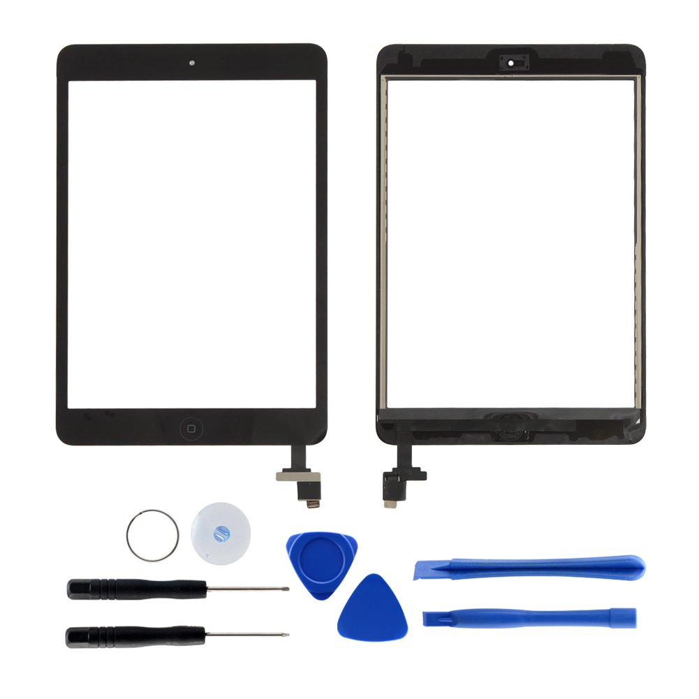 Black Touch Screen for iPad Mini 1 2 Retina, Front Digitizer Assembly with IC Chip / Home Button and Camera Holder, 7 Pieces Tools, Adhesive Tape Pre-installed by Tongyin
