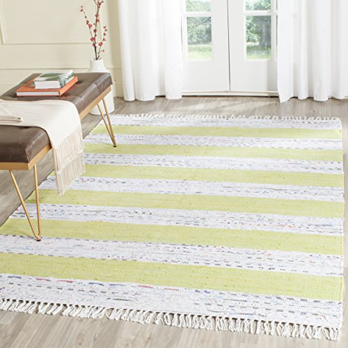 (Safavieh Montauk Collection MTK720D Handmade Flatweave Ivory and Light Green Cotton Area Rug (4' x)