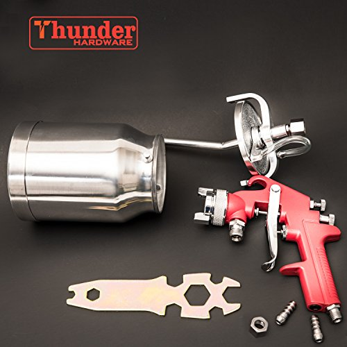 Thunder Hardware 4001J 34 oz Siphon Feed Spray Gun - 1.8mm Nozzle for a variety of low viscosity paints, such as lacquer, enamel, stain, urethane with air flow and paint pattern control knob by Thunder Hardware (Image #6)