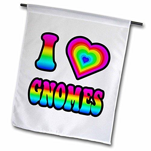 3dRose Groovy Hippie Rainbow I Heart Love Gnomes - Garden Flag, 12 by 18