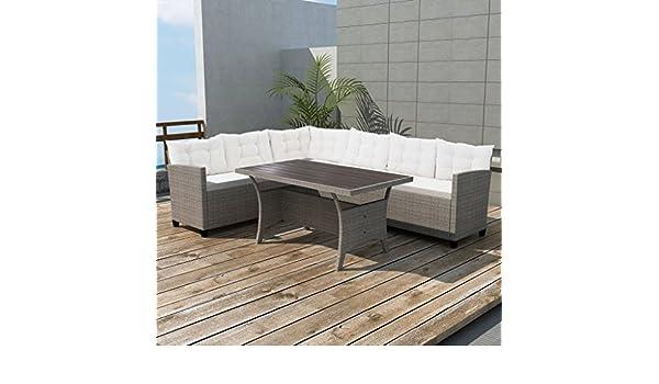 WEILANDEAL Set de Sofa de Esquina para Jardin 12 Piezas Poli ...
