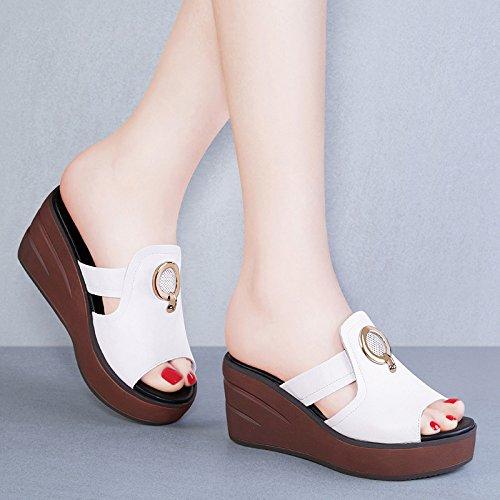 des épaisse De à Chaussures Mode Style Femmes XING Femmes avec Chaussures GUANG Sandales Pente Semelle 34 Nouvelle Pantoufles Japonais Liège Été White White Usure 39 0IXxXqt8w
